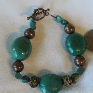"""Natural Turquoise and Copper 8"""" Bracelet NWOT"""